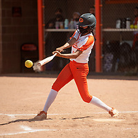 SJ Haines (5) connects with the ball for the Gallup Bengals against the Bloomfield Bobcats Friday afternoon at Gallup High School in Gallup.