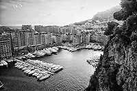 Black and white view of the Port of Fontvieille, Monaco, France.
