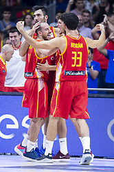 September 17, 2018 - Madrid, Spain - Pierre Oriola, Joaquin Colom, Oriol Pauli and Javier Beiran of Spain during the FIBA Basketball World Cup Qualifier match Spain against Latvia at Wizink Center in Madrid, Spain. September 17, 2018. (Credit Image: © Coolmedia/NurPhoto/ZUMA Press)