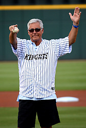 June 28, 2017 - Charlotte, NC, USA - Former major league shortstop Bucky Dent acknowledges the cheers of the fans at the Charlotte Knights' BB&T Ballpark in Charlotte, N.C., on Wednesday, June 28, 2017, prior to throwing the ceremonial first pitch. During his career, Dent played for the Chicago White Sox, New York Yankees, Texas Rangers and Kansas City Royals. (Credit Image: © Jeff Siner/TNS via ZUMA Wire)
