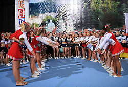 Viqueens Spirit, Norway (2nd place in category Cheer all female - Senior) cheers to winners TCS Smash Dragons, Finland at final ceremony at second day of European Cheerleading Championship 2008, on July 6, 2008, in Arena Tivoli, Ljubljana, Slovenia. (Photo by Vid Ponikvar / Sportal Images).