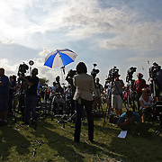 Media members from across the country covered the rally for the shooting of Trayvon Martin on Thursday,March 22, 2012 at Fort Mellon Park in Sanford, Florida. (AP Photo/Alex Menendez) Trayvon Martin rally in Sanford, Florida.