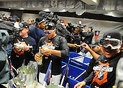 Oct 18, 2012     Inside the ClubHouse players celebrate with alcohol free champaign after decisive victory against the Yankees in  game 4 of the America League Championship Series between the New York Yankees and the Detroit Tigers at Comerica Park in Detroit, MI.