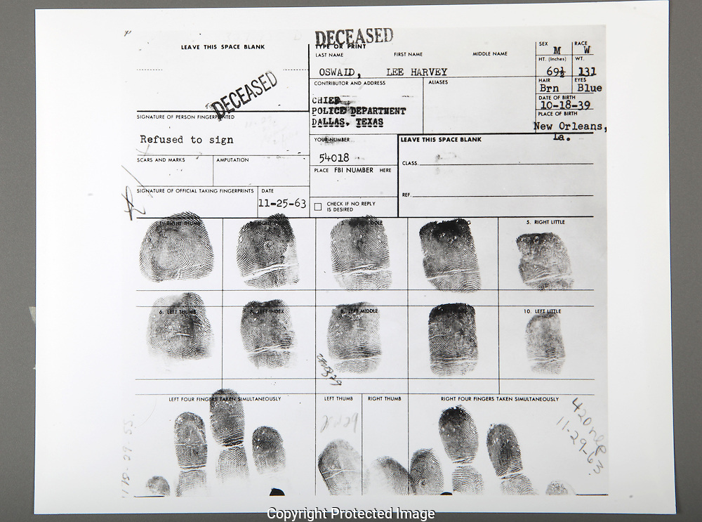 The  card with fingerprints of Lee Harvey Oswald taken by the Dallas Police Department....Photograph: Warren Commission/ Dennis Brack Archives