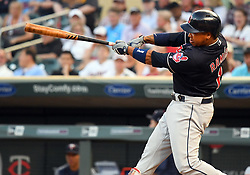 May 31, 2018 - Minneapolis, MN, U.S. - MINNEAPOLIS, MN - MAY 31: Cleveland Indians Third base Jose Ramirez (11) hits a solo home run in the top of the 4th during a MLB game between the Minnesota Twins and Cleveland Indians on May 31, 2018 at Target Field in Minneapolis, MN. The Indians defeated the Twins 9-8.(Photo by Nick Wosika/Icon Sportswire) (Credit Image: © Nick Wosika/Icon SMI via ZUMA Press)