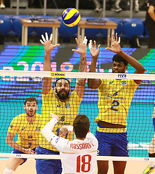 June 16, 2018 - Varna, Bulgaria - from left Mauricio Borges ALMEIDA SILVA (Brazil), Thibault ROSSARD (France), Isac SANTOS (Brazil), .mens Volleyball Nations League,week 4, Brazil vs Francel, Palace of culture and sport, Varna/Bulgaria, June 16, 2018, the fourth of 5 weekends of the preliminary lap in the new established mens Volleyball Nationas League takes place in Varna/Bulgaria. (Credit Image: © Wolfgang Fehrmann via ZUMA Wire)