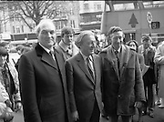 """Opening of New Ogra Fianna Fail office on O'Connell St,Dublin.1982.30.01.1982.01.30.1982.30th January 1982.Image of Mr Charles Haughey,.Leader of Fianna Fail,accompanied by mr George Colley,Deputy Leader and Mr Tom Leonard prospective candidate for Dublin Central as they arrive for the opening of the new """"Ogra"""" office."""