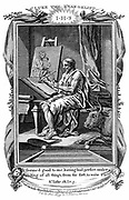 St Luke the Evangelist writing his gospel.  'Bible' Luke 1.3.  Patron saint of artists and physicians.  An Ox, Luke's symbol, right foreground.  Copperplate engraving c1808