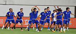 June 6, 2017 - Guangzh, Guangzh, China - Guangzhou, CHINA-June 6 2017: (EDITORIAL USE ONLY. CHINA OUT) ..Members of Philippines national football team do warm-up exercises before International Football Friendship Match in Guangzhou, south China's Guangdong Province, June 6th, 2017. (Credit Image: © SIPA Asia via ZUMA Wire)