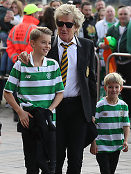 Celtic fan Rod Stewart with his children Alastair and Aiden as they arrive at the Ladbrokes Scottish Premiership match at Celtic Park, Glasgow.