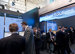 IBM exhibition area at CeBIT 2011 digital and electronics trade fair in Hannover March 2011 Germany