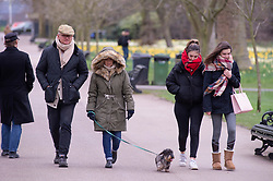 ©Licensed to London News Pictures 03/03/2020<br /> Greenwich, UK. People wrapped up keeping warm with coats on. A cold weather day at Greenwich Park, Greenwich, London. Photo credit: Grant Falvey/LNP