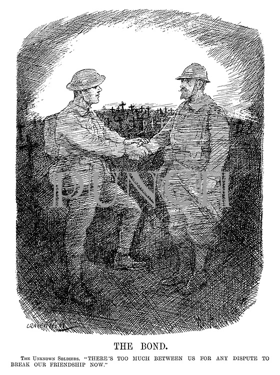 "The Bond. The Unknown Soldiers. ""There's too much between us for any dispute to break our friendship now."" (the ghosts of a British and French soldier shake hands infront a war cemetery during the InterWar era)"