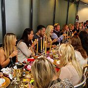 NLD/Amsterdam/20120905 - Lancering sieradenlijn Gassan Diamonds en Danie Bles gepresenteerd aan Sylvie van der Vaart, gedekte tafel met gasten