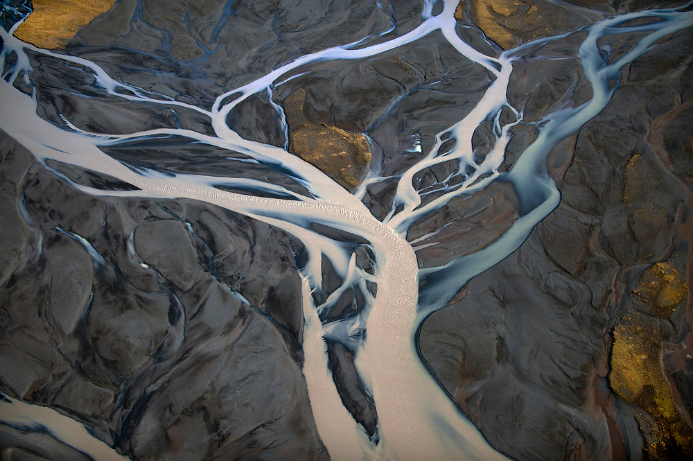 Runoff from glaciers in Iceland create large glacial floodplain on the Southeast coast of Iceland