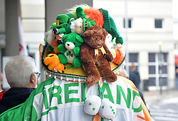 Republic of Ireland fan wearing Irish themed hat prior to the UEFA Euro 2020 Qualifying, Group D match at the Victoria Stadium, Gibraltar.
