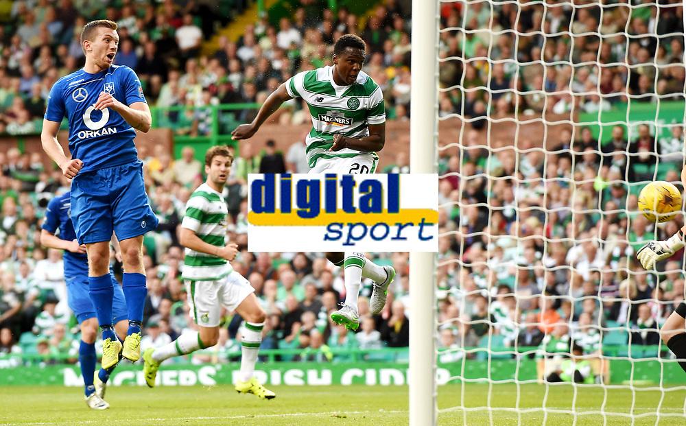 15/07/15 UEFA CHAMPIONS LEAGUE QUALIFIER<br /> CELTIC V STJARNAN<br /> CELTIC PARK - GLASGOW<br /> Celtic debutant Dedryck Boyata scores the opening goal.