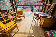 The Wish List – Sir Terence Conran matched established designers with emerging designers to challenge them to make a piece they had always desired -  including a shed designed for Sir Paul Smith. Here with a view of Madejeski Garden<br /> Crest by Zaha Hadid commissioned by<br /> Meliã Hotels International <br /> . The London Design Festival at the V&A, South Kensington, London 12 Sept 2014. Guy Bell, 07771 786236, guy@gbphotos.com