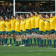 The Wallabies sing the national anthem before the New Zealand V Australia Tri-Nations, Bledisloe Cup match at Eden Park, Auckland. New Zealand. 6th August 2011. Photo Tim Clayton