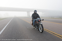 Kelly Modlin of Kansas riding his 1914 Excelsior during the Motorcycle Cannonball Race of the Century. Stage-9 Dodge City, KS to Pueblo, CO. USA. Monday September 19, 2016. Photography ©2016 Michael Lichter.