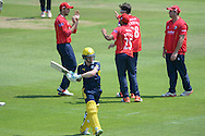 essex celebrate the wicket of Hampshire wicketkeeper-batsman Adam Wheater during the Royal London One Day Cup match between Hampshire County Cricket Club and Essex County Cricket Club at the Ageas Bowl, Southampton, United Kingdom on 5 June 2016. Photo by David Vokes.