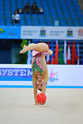 Jung Laura during qualifying at ball in Pesaro World Cup 10 April 2015. Laura is a German rhythmic gymnastics athlete born on June 25, 1995 in St. Wendel, Germany.