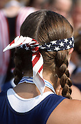 Hazewinkel. BELGIUM, USA JW8+, Bronze Medalist, with their Stars and Stripes Bandana's/Head/sweat bands competing at the 1997 FISA Junior World Rowing Championships. Course, Bloso Rowing Centre, Heindonk, Willebroek, Mechelen, Belgium. 1997 Junior World Rowing Championships, Hazewinkel,