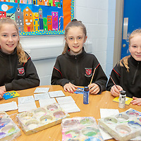 Ennis National School students Emily Lardner, Kaylan Chambers and Chloe Robinson working on their project 'Colourful Coasters'