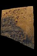 Conversion and ordination of Nanda and fight scene (War Relic?) 3rd century. The Amaravati School (1st century BC - 3rd century AD) marmoreal limestone sculpture from Andhra Pradesh, India