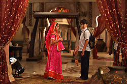 Avika Gor, 12, is seen with her costar Avinash Mukherjee, 14, who plays her husband in Balika Vadhu, a television show currently being broadcast in India. Rajasthan, India on April 21, 2009.