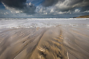 """Loving Connections"""" Sennen Cove, Cornwall (Jan 2016) - Fantastic light and wide open spaces on this huge white sand beach in South West Cornwall. I loved the rivulets from the surroundings hills, tumbling across the beach towards the open sea. We have been blessed this trip, with gorgeous light, warm temperatures and super company."""