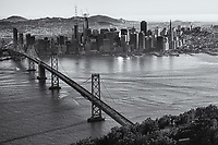 Classic SF Skyline with Bay Bridge (monochrome)