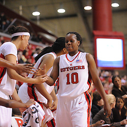 Feb 21, 2009; Piscataway, NJ, USA; Rutgers guard Epiphanny Prince (10) receives a standing ovation and high-fives from her teammates after leaving the game late in the second half of Rutgers' 55-42 victory over Providence at the Louis Brown Athletic Center.