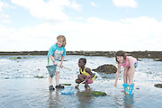 17/06/2014 Oscar Branton, Darel Ajand and Molly Garrad from Kilcolgan educate together National School on a nature walk to Tracht beach near Kinvara Co. Galway for beach surveys, a swim and whole lot of educational fun . <br />   Photo:Andrew Downes