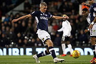 Steve Morison of Millwall takes a shot at goal. EFL Skybet football league championship match, Fulham v Millwall at Craven Cottage in London on Saturday 25th November 2017.<br /> pic by Steffan Bowen, Andrew Orchard sports photography.