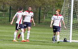 Falkirk's Taylor Morgan cele scoring. Falkirk FC training for the Cup Final at Burnley's training ground.