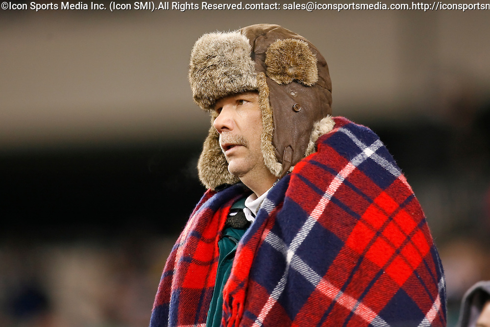 27 Nov 2008: A Philadelphia Eagles fan watches the action during the game against the Arizona Cardinals on November 27th, 2008. The Eagles won 48 to 20 at Lincoln Financial Field in Philadelphia, Pennsylvania.