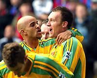 Photo. Chris Ratcliffe<br /> Crystal Palace v Norwich City. Barclays Premiership. 16/04/2005<br /> Dean Ashton celebrates his second goal with Leon McKenzie