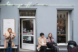 Exterior of trendy coffee shop Bonanza Coffee Heroes in Prenzlauer Berg, Berlin, Germany