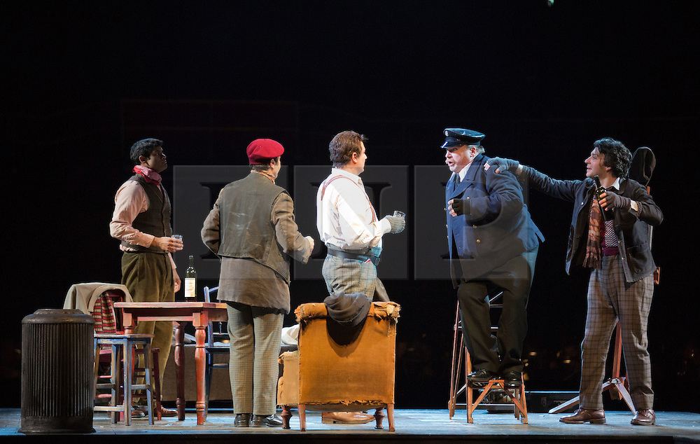 © Licensed to London News Pictures. 26 February 2014. London, England. L-R: Sean Panikkar, Stefano de Peppo, Michael Chioldi, Henry Waddington and Joshua Bloom. LA BOHÈME, Giacomo Puccini's masterpiece of doomed love and tragic passion, will play fourteen performances at the Royal Albert Hall, beginning on 27 February 2014. Francesca Zambello will direct, reviving her hugely successful 2004 production, music by the Royal Philharmonic Orchestra, a Ryamond Gubbay and RAH production. Dress rehearsal with Jessica Rose Cambio as Mimi and Sean Panikkar as Rodolfo. Photo credit: Bettina Strenske/LNP