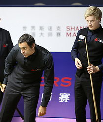 SHANGHAI, Sept. 12, 2018  Ronnie O'Sullivan (L) of England competes during the second round match against Neil Robertson of Australia at 2018 World Snooker Shanghai Masters in Shanghai, east China, Sept. 12, 2018. (Credit Image: © Fan Jun/Xinhua via ZUMA Wire)