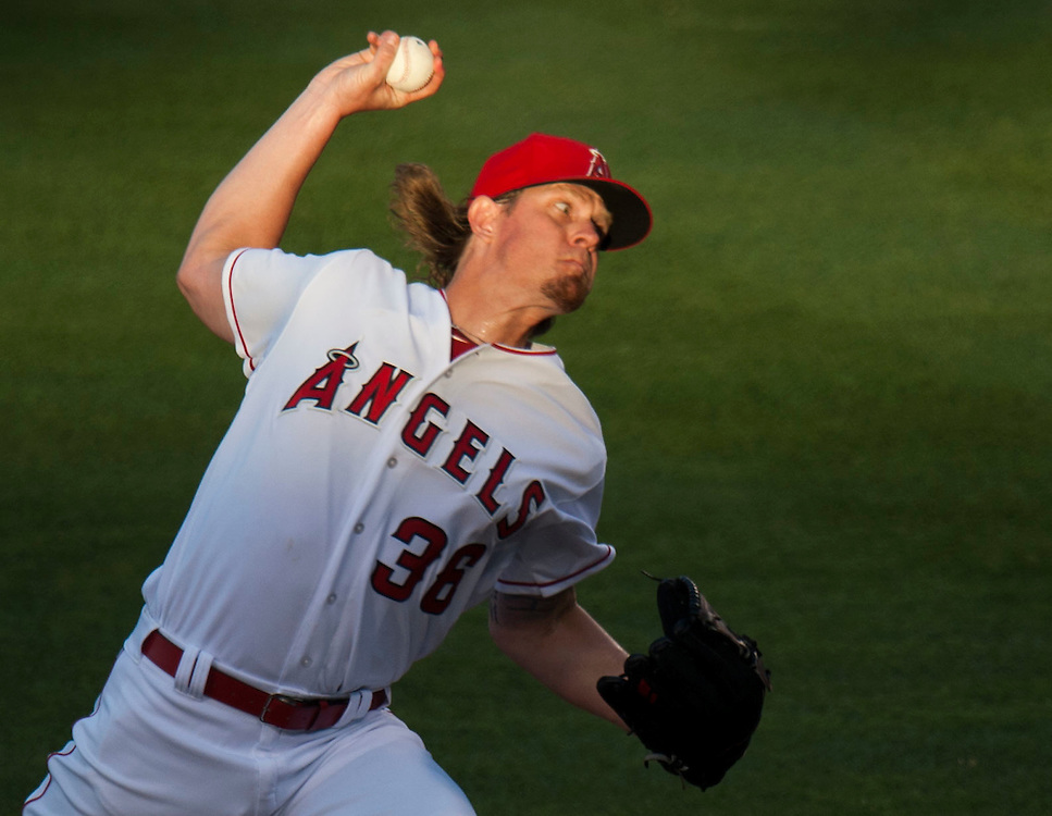 The Angels' Jered Weaver pitches against the Oakland Athletics at Angel Stadium on Friday.<br /> <br /> ///ADDITIONAL INFO:   <br /> <br /> angels.0625.kjs  ---  Photo by KEVIN SULLIVAN / Orange County Register  --  6/24/16<br /> <br /> The Los Angeles Angels take on the Oakland Athletics Friday at Angel Stadium.<br /> <br /> <br />  6/24/16
