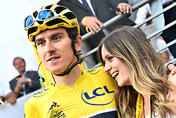 July 29, 2018 - Paris, FRANCE - British Geraint Thomas of Team Sky and his girlfriend wearing the yellow jersey of overall leader pictured after the last stage of the 105th edition of the Tour de France cycling race, 116km from Houilles to Paris, France, Sunday 29 July 2018. This year's Tour de France takes place from July 7th to July 29th. BELGA PHOTO DAVID STOCKMAN (Credit Image: © David Stockman/Belga via ZUMA Press)