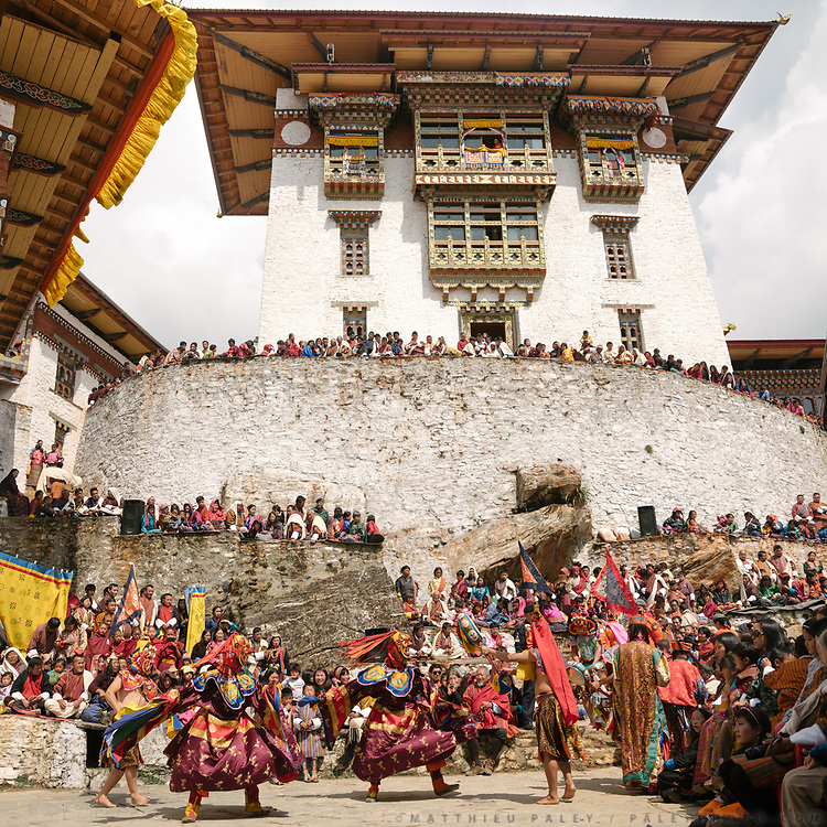 The Tshechu of the Gasa monastery on the road leading to Laya. Tshechu are annual religious Bhutanese festivals held in each district on the tenth day of a month of the lunar Tibetan calendar. Tshechus are large social gatherings, which perform the function of social bonding among people of remote and spread-out villages. The focal point of the tshechus are Cham dances. These costumed, masked dances typically are moral vignettes, or based on incidents from the life of the 9th century Nyingma teacher Padmasambhava and other saints.