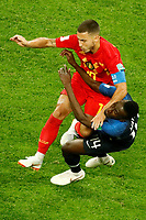 SAINT PETERSBURG, RUSSIA - JULY 10: Eden Hazard (top) of Belgium national team and Blaise Matuidi of France national team collide during the 2018 FIFA World Cup Russia Semi Final match between France and Belgium at Saint Petersburg Stadium on July 10, 2018 in Saint Petersburg, Russia. MB Media