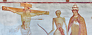 """Crucifiction fresco on the Church of San Vigilio in Pinzolo, part of its mural painting """"the Dance of Death"""" painted by Simone Baschenis of Averaria in1539, Pinzolo, Trentino, Italy .<br /> <br /> Visit our MEDIEVAL ART PHOTO COLLECTIONS for more   photos  to download or buy as prints https://funkystock.photoshelter.com/gallery-collection/Medieval-Middle-Ages-Art-Artefacts-Antiquities-Pictures-Images-of/C0000YpKXiAHnG2k<br /> If you prefer to buy from our ALAMY PHOTO LIBRARY  Collection visit : https://www.alamy.com/portfolio/paul-williams-funkystock/san-vigilio-pinzolo-dance-of-death.html"""
