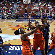 UNCASVILLE, CONNECTICUT- JUNE 3:  Camille Little #2 of the Connecticut Sun rebounds while challenged by Sancho Lyttle #20 of the Atlanta Dream during the Atlanta Dream Vs Connecticut Sun, WNBA regular season game at Mohegan Sun Arena on June 3, 2016 in Uncasville, Connecticut. (Photo by Tim Clayton/Corbis via Getty Images)