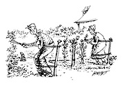 (An elderly couple doing some gardening are held up by being tied to posts, like the bushes they are tending)