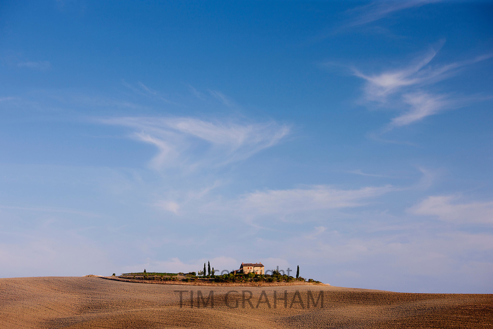 Typical Tuscan landscape near Pienza in Val D'Orcia, Tuscany, Italy RESERVED USE - NOT FOR DOWNLOAD - FOR USE CONTACT TIM GRAHAM