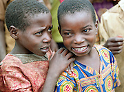 Children of a Batwa tribe enjoying a welcome dance. The Batwa are a pygmy people who were the oldest recorded inhabitants of the Great Lakes region of central Africa. South West Uganda